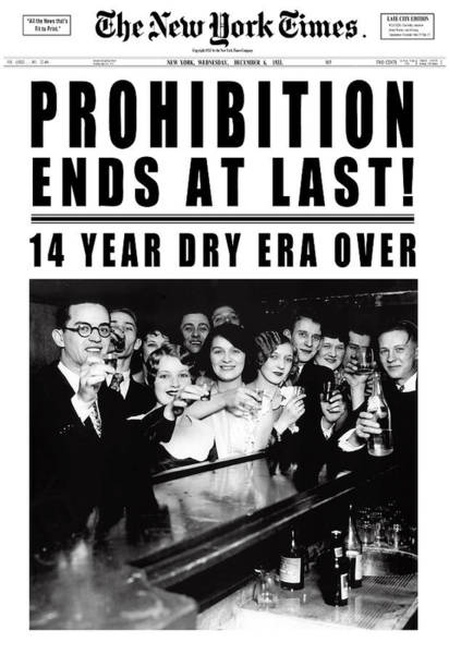 Wall Art - Digital Art - Prohibition Ends At Last Headline 1933 White by Daniel Hagerman