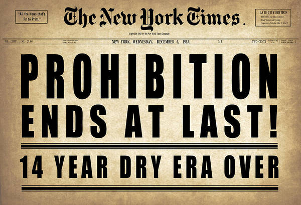 Prohibition Digital Art - Prohibition Ends Headline  1933 by Daniel Hagerman