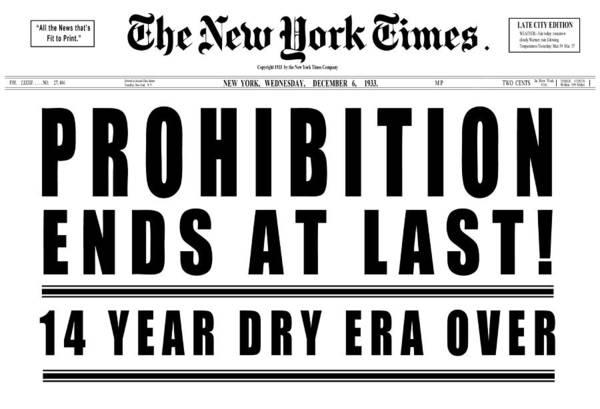 Prohibition Ends Headline 1933  White Art Print
