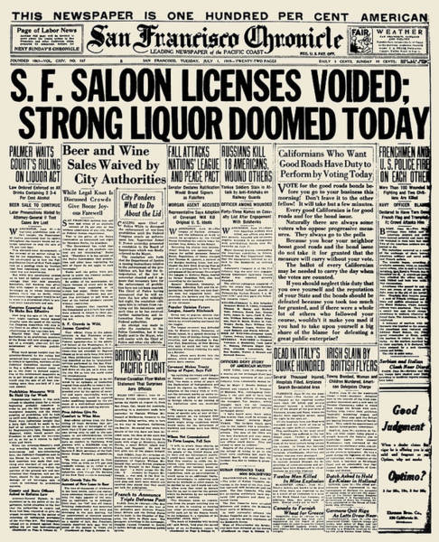 Photograph - Prohibition Headline, 1919 by Granger