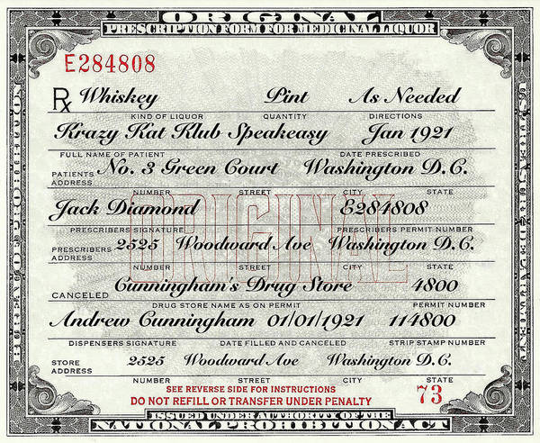 Photograph - Prohibition Prescription Certificate Krazy Kat Klub by David Patterson