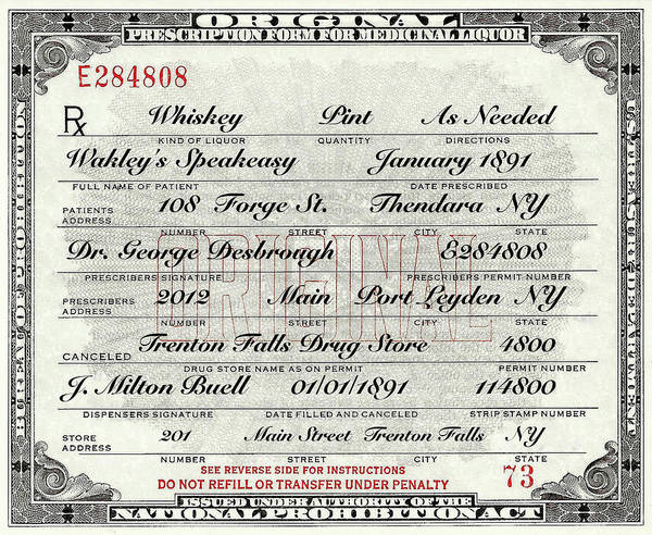 Photograph - Prohibition Prescription Certificate Speakeasy by David Patterson
