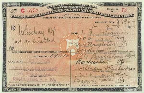 Flapper Photograph - Prohibition Prescription For Whiskey by Jon Neidert