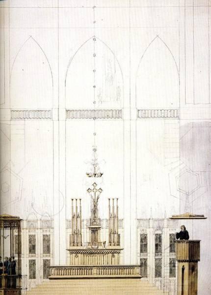 Wall Art - Painting - Projet De Decoration Pour L Eglise Sainte Marie De Strlsund  Crayon Plume Et Aquarelle 1817  By Casp by Celestial Images