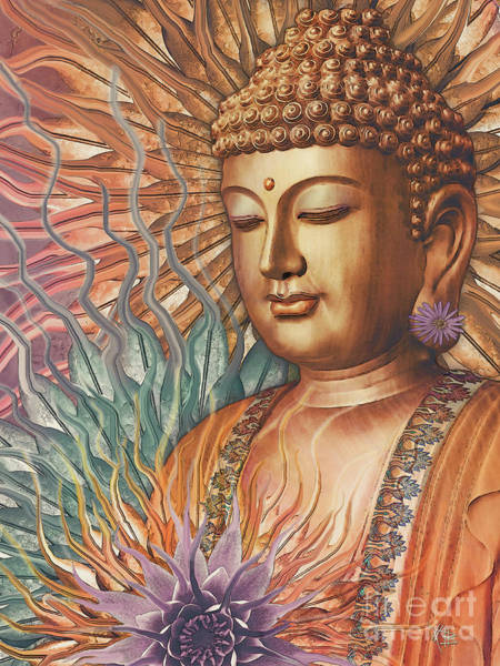 Art Print featuring the digital art Proliferation Of Peace - Buddha Art By Christopher Beikmann by Christopher Beikmann