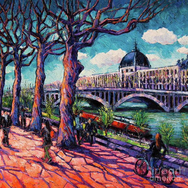 Abstract People Painting - Promenade Along The Rhone by Mona Edulesco