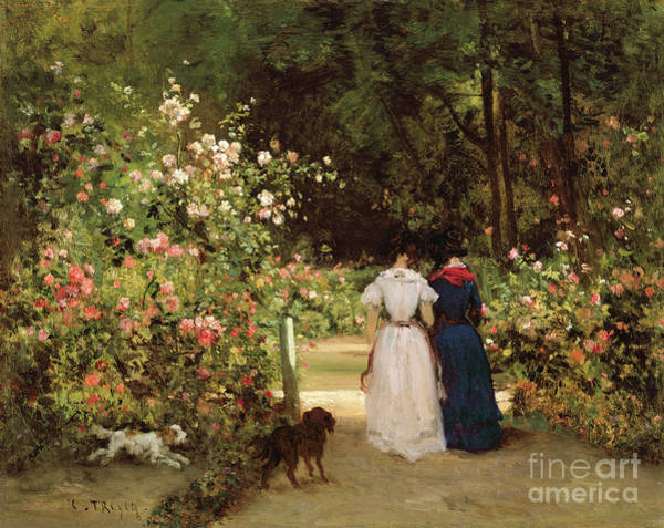 Stroll Painting - Promenade by Constant-Emile Troyon