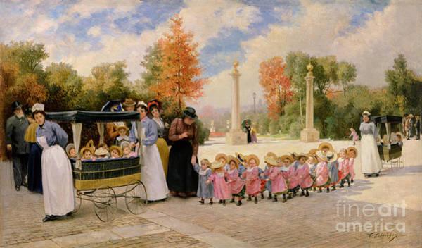 Stroll Painting - Promenade Des Enfants  by Timoleon Marie Lobrichon