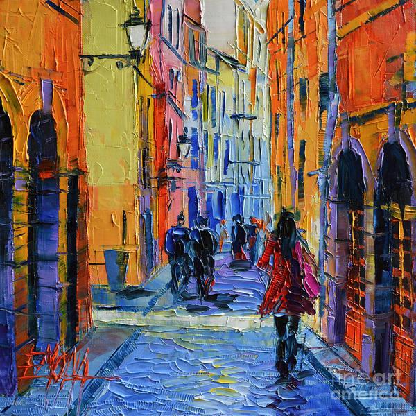 Facade Painting - Promenade On Saint Georges Street Lyon by Mona Edulesco