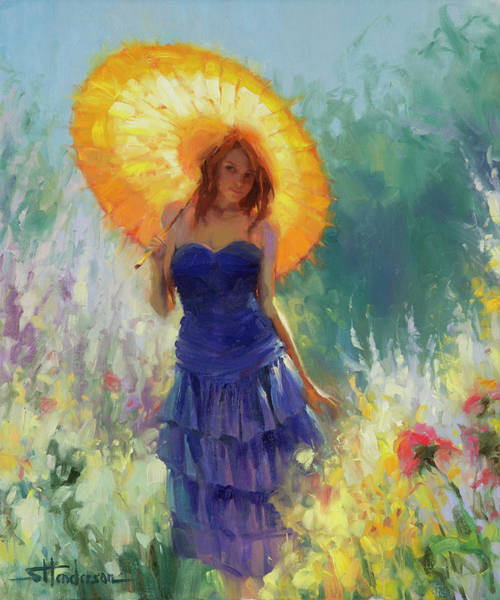 Blue Hair Wall Art - Painting - Promenade by Steve Henderson