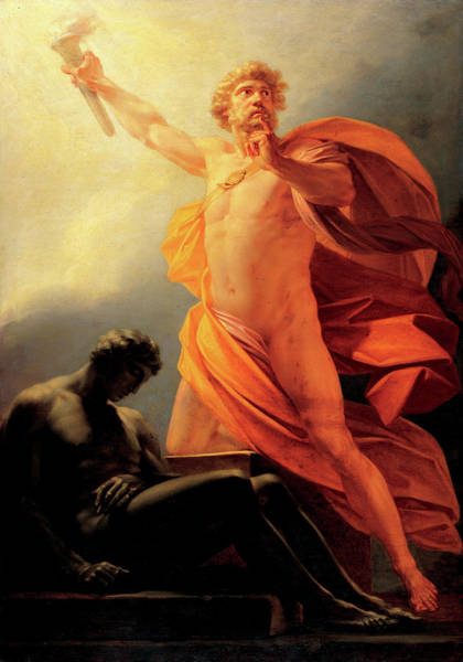 Liver Painting - Prometheus Brings Fire To Mankind by Heinrich Friedrich Fuger
