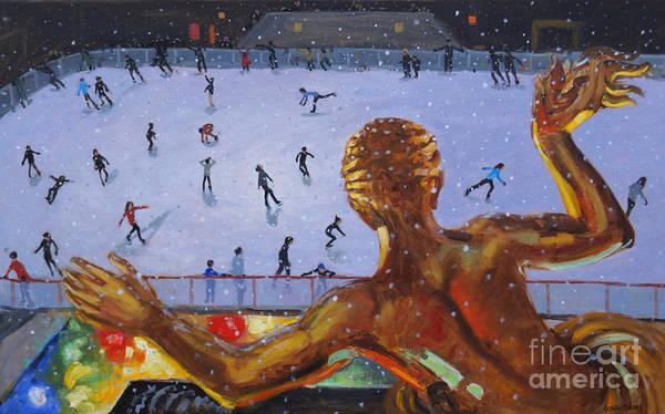 Figure Skater Painting - Prometheus, Rockefeller Ice Rink, New York by Andrew Macara