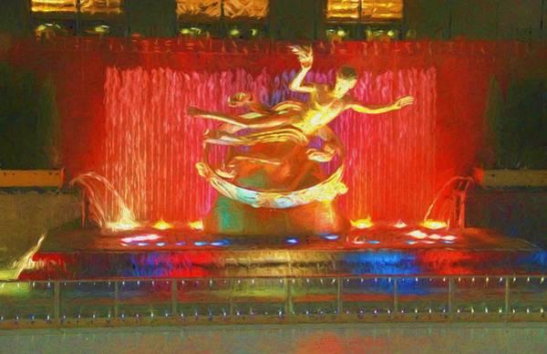 Mixed Media - Prometheus Statue Rockefeller Center by Dan Sproul