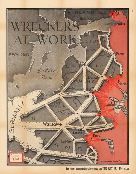 Propaganda Drawing - Propaganda Map Of German Domination - Baltic Region, Prussia, Poland - World War 2 - Time Magazine by Studio Grafiikka