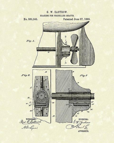 Shaft Wall Art - Drawing - Propeller Shaft Bearing 1882 Patent Art by Prior Art Design