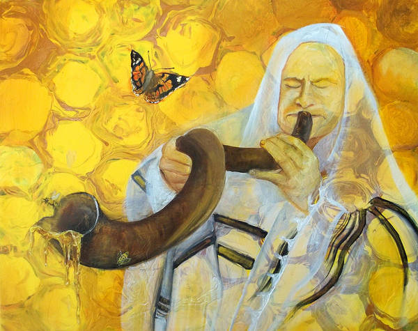 Prophetic Message Sketch Painting 9 Honey Dripping From The Shofar Art Print