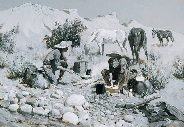 Wall Art - Painting - Prospectors Making Frying-pan Bread by Frederic Remington