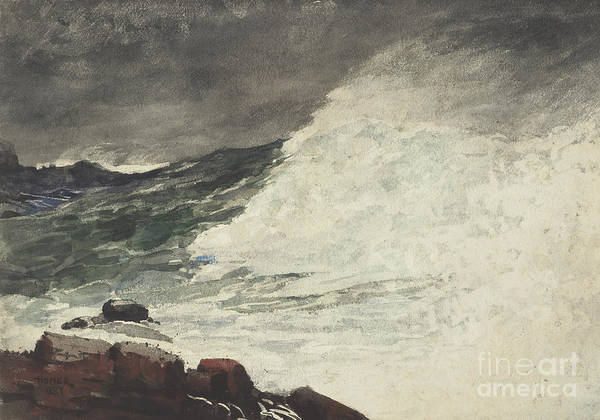 Wave Breaking Painting - Prouts Neck Breaking Wave by Winslow Homer