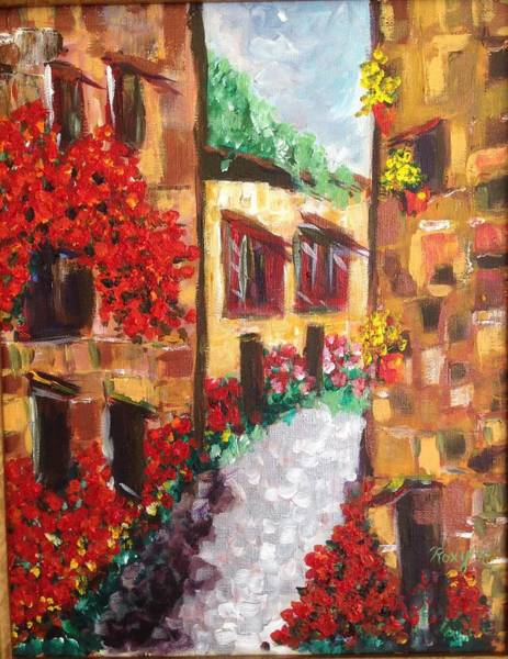 Wine Painting - Provence Village #france by Roxy Rich