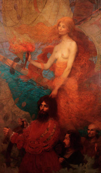 Symbolism Painting - Providence Guides Cabral by Eliseu Visconti