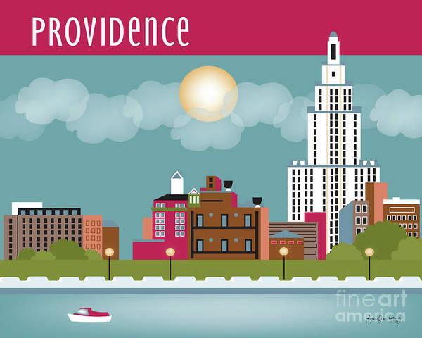 Rhode Island Digital Art - Providence Rhode Island Horizontal Skyline by Karen Young