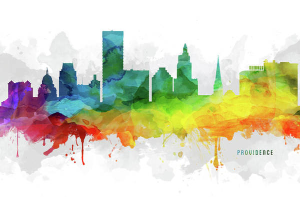 Rhode Island Digital Art - Providence Skyline Mmr-usripr05 by Aged Pixel