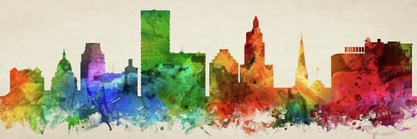 Wall Art - Digital Art - Providence Skyline Panorama Usripr-pa03 by Aged Pixel
