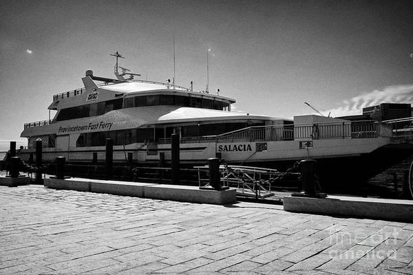 Provincetown Harbor Photograph - provincetown fast ferry salacia Boston USA by Joe Fox