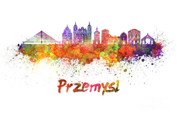 Poland Painting - Przemysl Skyline In Watercolor by Pablo Romero