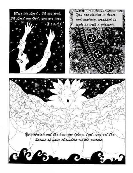 Digital Art - Psalm 104 Comic Page 1 by Anne Cameron Cutri