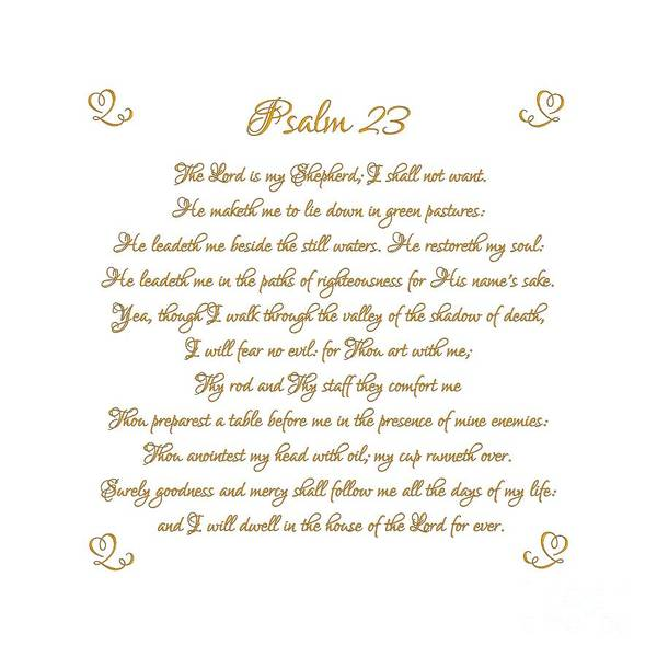 Digital Art - Psalm 23 The Lord Is My Shepherd Gold Script On White by Rose Santuci-Sofranko