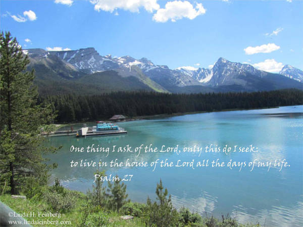 Painting - Psalm 27 With Maligne Lake by Linda Feinberg