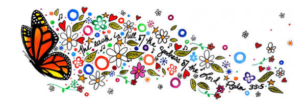 Doodle Painting - Psalm 33 5 by Cindy Thornton