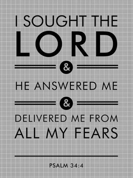 Bible Verse Mixed Media - Psalm 34-4 - Spiritual Wall Art - Bible Verses Art - Minimalist Scripture by Studio Grafiikka