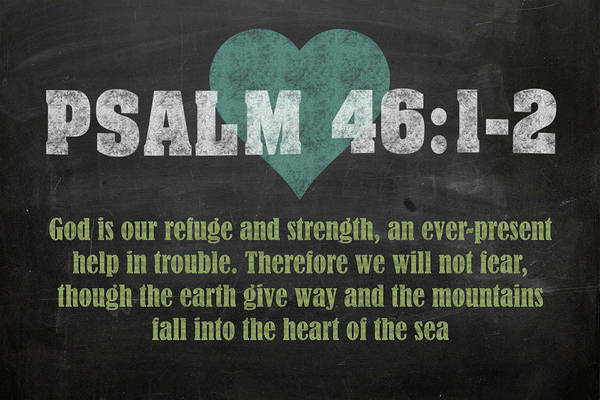 Bible Verse Mixed Media - Psalm 46 12 Inspirational Quote Bible Verses On Chalkboard Art by Design Turnpike