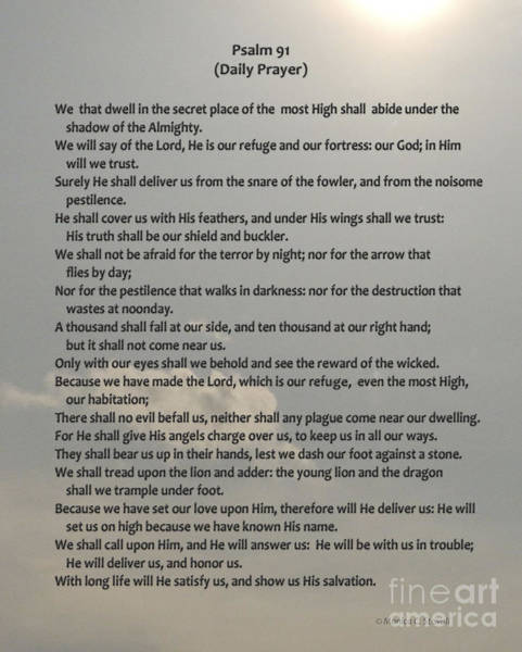 Photograph - Psalm 91 Daily Prayer by Monica C Stovall
