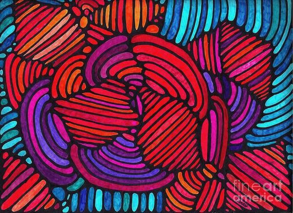 Aqua Drawing - Psychedelia 4 by Sarah Loft