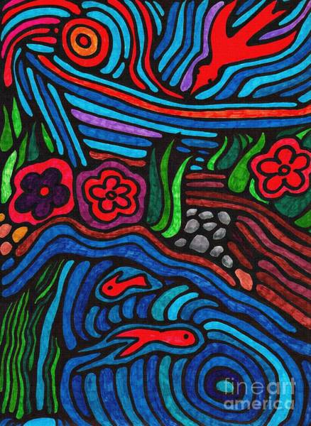 Garden Wall Drawing - Psychedelic Garden 3 by Sarah Loft