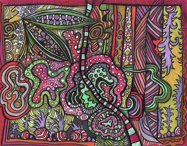Semi Abstract Drawing - Psychedelic Garden by Sandra Church