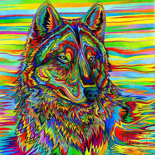 Colored Pencil Drawing Drawing - Psychedelic Wolf by Rebecca Wang