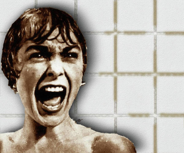 Psycho Painting - Psycho By Alfred Hitchcock, With Janet Leigh Shower Scene H Color by Tony Rubino