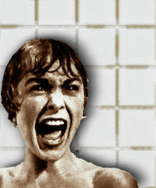 Psycho Painting - Psycho By Alfred Hitchcock, With Janet Leigh Shower Scene V Color by Tony Rubino