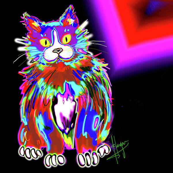 Painting - Psycho Dizzycat by DC Langer