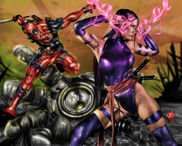 Painting - Psylocke And Deadpool by Pete Tapang