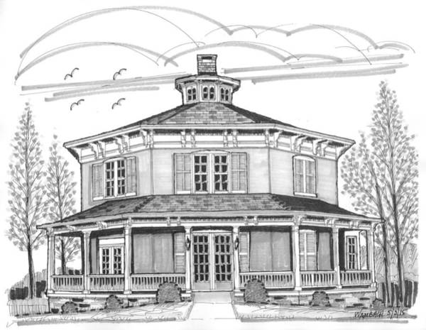 Drawing - Public Library Red Hook Ny by Richard Wambach