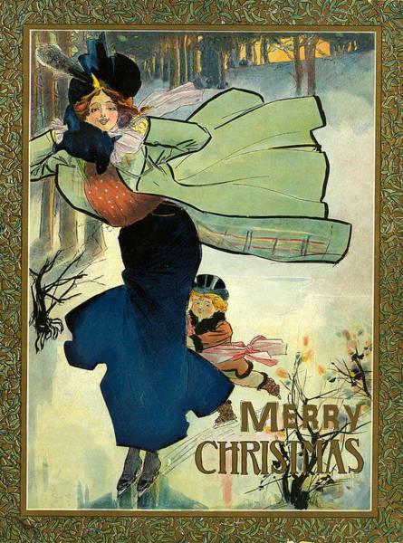 Photograph - Card Christmas Skater by Robert G Kernodle