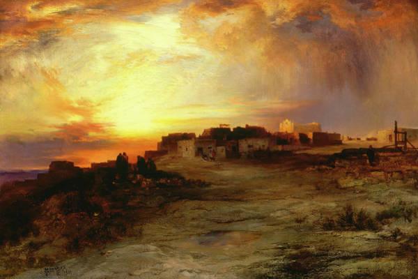 Wall Art - Painting - Pueblo At Sunset, Laguna by Thomas Moran