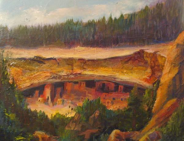 Open Space Mixed Media - Pueblo Village by Buff Holtman