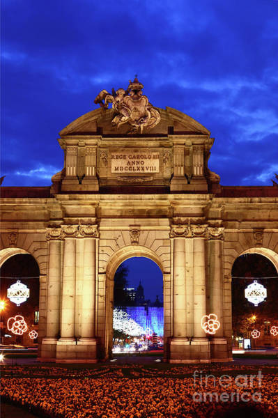 Photograph - Puerta De Alcala And Christmas Lights Madrid by James Brunker
