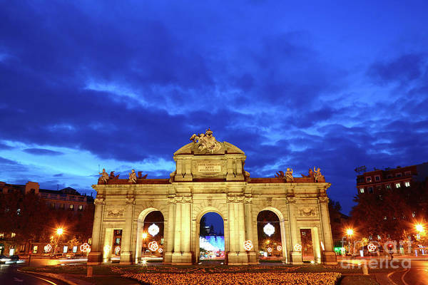 Photograph - Puerta De Alcala At Blue Hour Madrid by James Brunker
